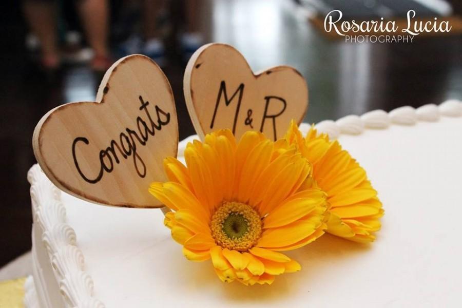 زفاف - Rustic Wedding Decor Personalized Heart Cake Toppers Rustic Romance Perfect for your Wedding Cottage Farmhouse Barn Ranch Beach Natural