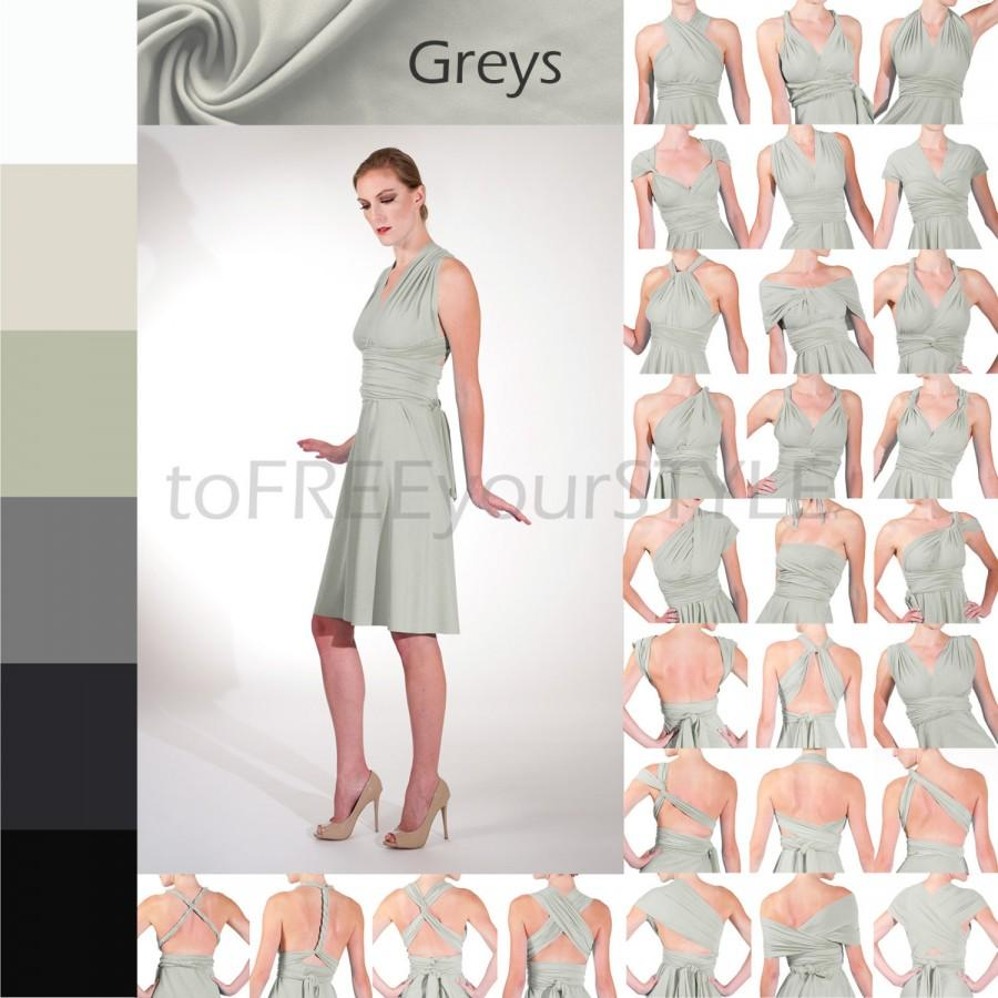 Mariage - Short infinity dress in GREYS, A-LINE Free-Style Dress, infinity wrap dress, mismatched dress, ombre convertible bridesmaid dress, cocktail