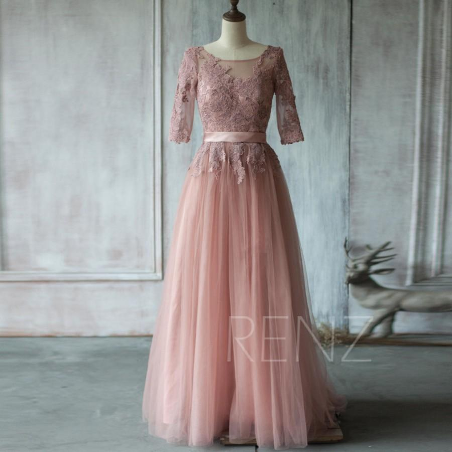 2017 Dusty Rose Bridesmaid Dress A Line Mesh Wedding Lace Top 3 4 Sleves Tail Scoop Formal Floor Length Ts153