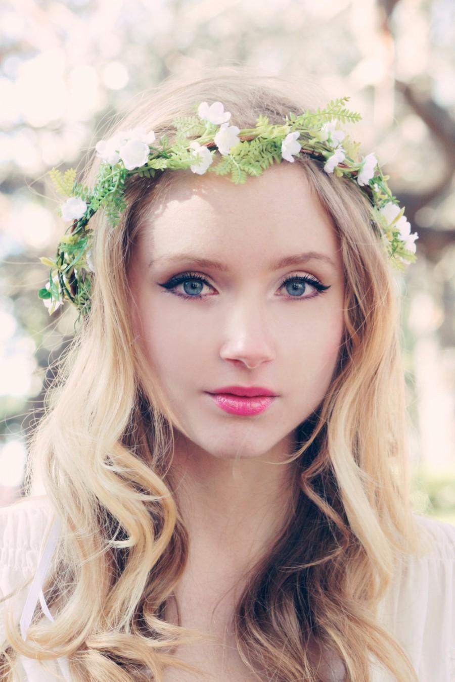 Bridal Hair Wreath, Flower Hairpiece, Grecian Goddess, Bridal Head ...
