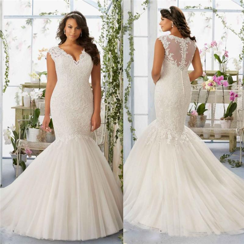 Elegant Lace Wedding Dresses V Neck Sheer Back Sleeveless Bridal ...