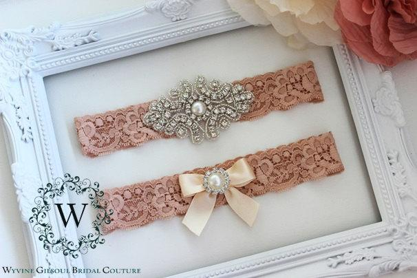 Mariage - BELLA - Lace Wedding Garter - Individual or Set - With Gift Box - Ivory/White/Peach Lace Garter - Rhinestone Pearl Wedding Garter