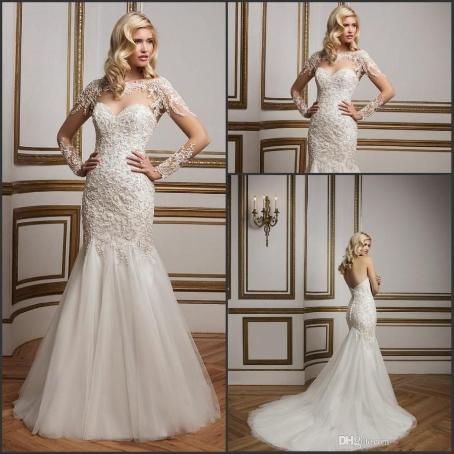 70bd18d1816 Justin Alexander Mermaid Wedding Dresses 2016 Ivory Sweetheart with Beads  Appliques Backless Bridal Gowns Court Train Buttons with Jacket Online with  ...