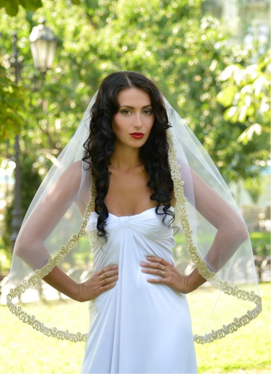 Wedding - wedding veil gold, bridal veil gold, lace veil gold,  bridal veil, gold veil, mantilla veil, soft Silk Tulle veil STYLE-017- LISSABON