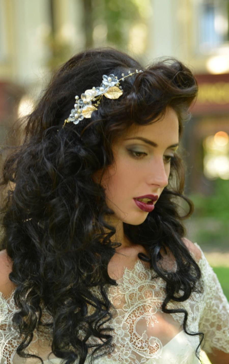 Mariage - Pearl crown, Pearl bridal wedding tiara, Head piece bohemian, Tiara crown, Wedding tiara bridal, Pearl tiara headband, Pearl wedding.