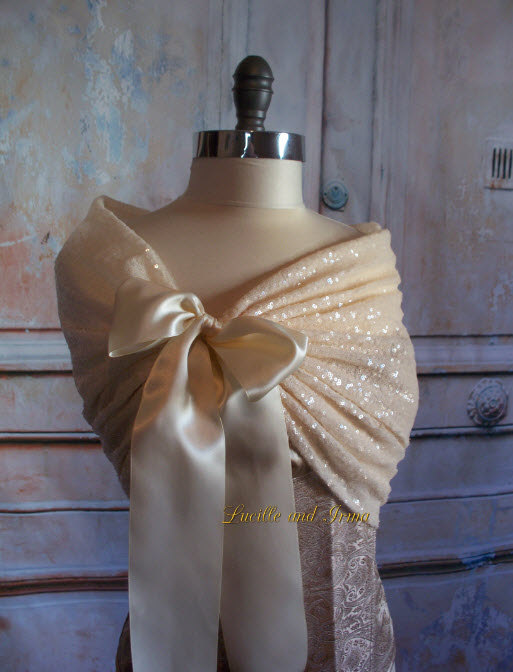 Свадьба - Ivory Sequin Shrug Off White Sequin Shawl Sequin Bolero Bridesmaids Shoulder Cover Sequin Stole