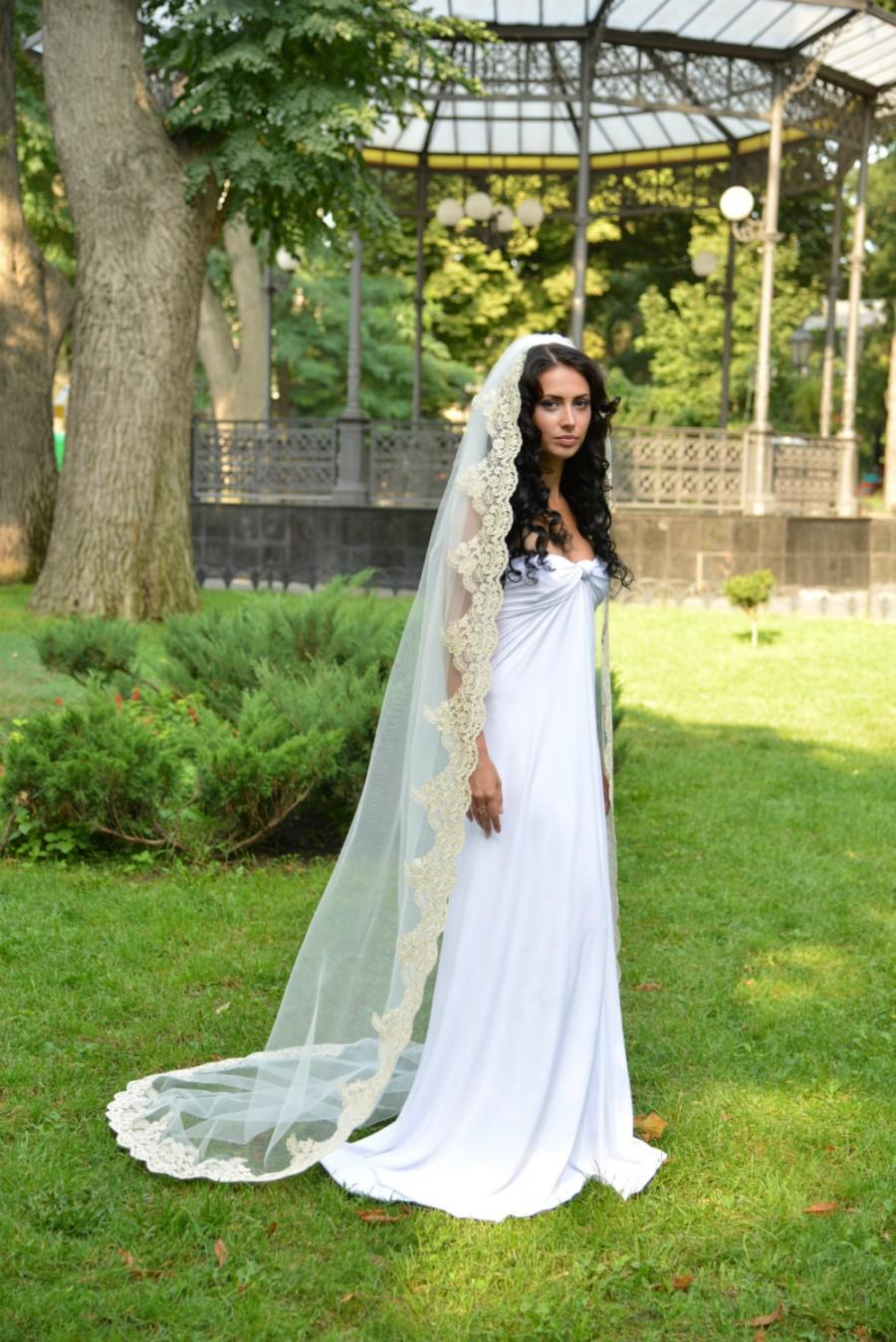 زفاف - Gold wedding veil, bridal veil gold, long wedding veil, gold wedding, soft wedding veil