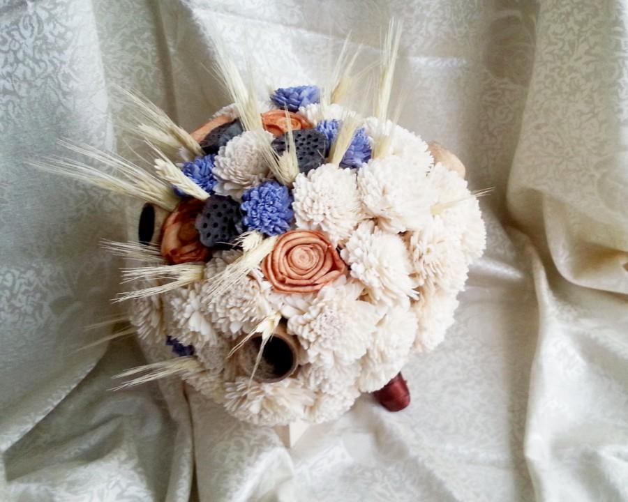 Wedding - BIG Cream rustic wedding BOUQUET Cream Flowers, wheat, bell cup, autumn wedding, sola roses,