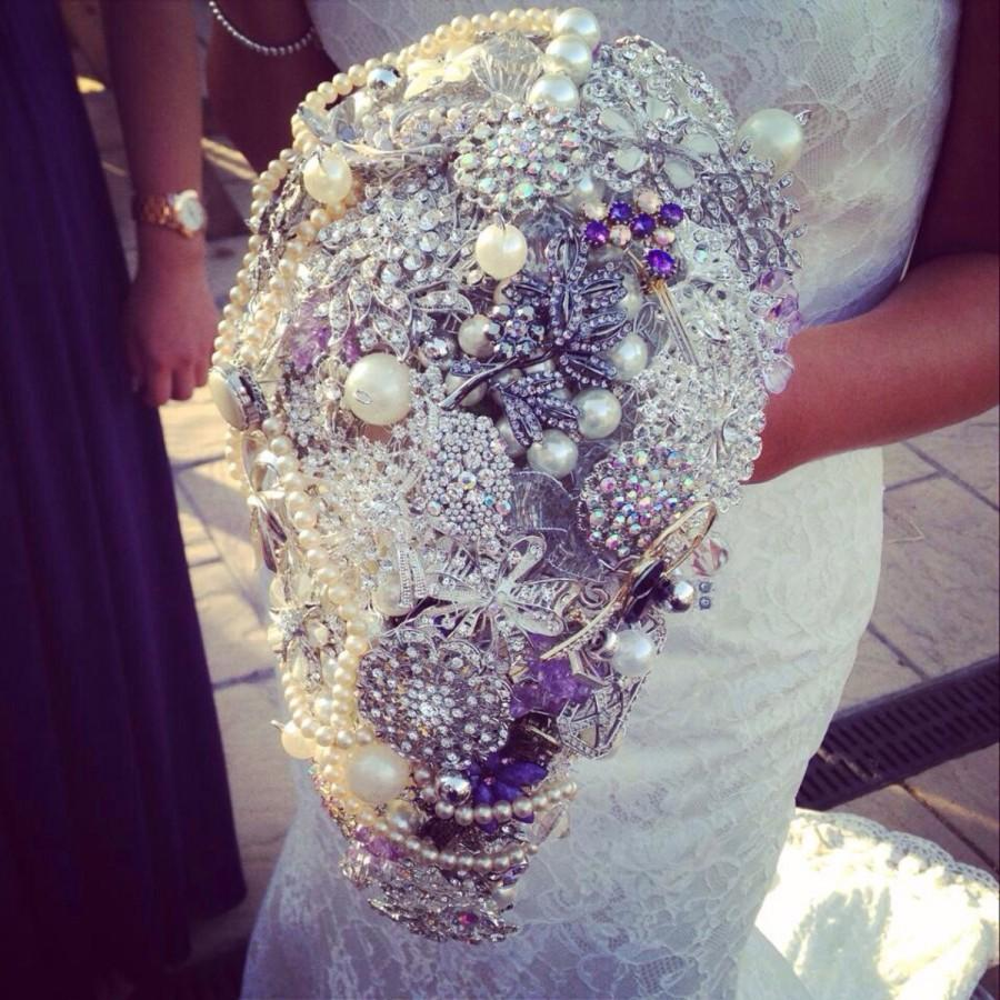 Mariage - Large bespoke trailing coloured bridal brooch bouquet, broach bouquet