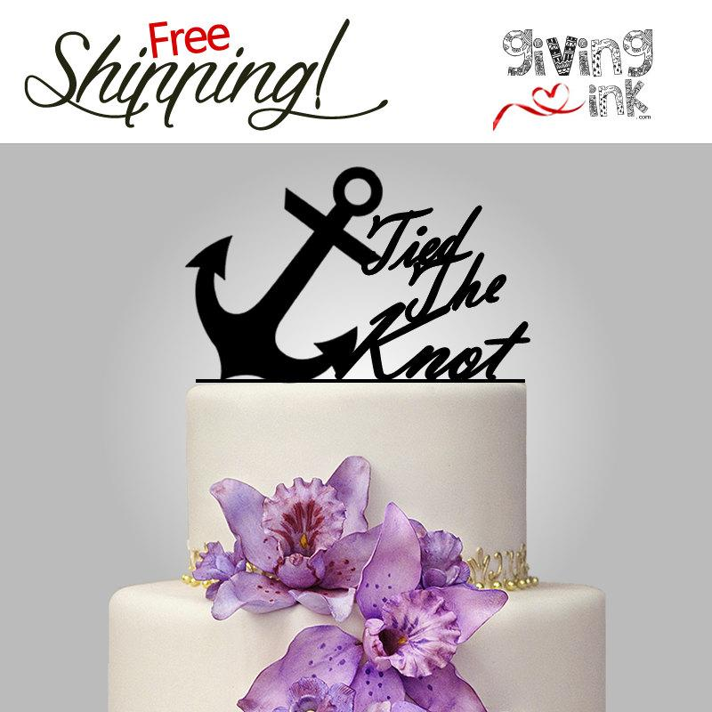 "Mariage - Beach Wedding Anchor Cake Topper ""tied the knot"" Quote for Nautical Wedding Theme"