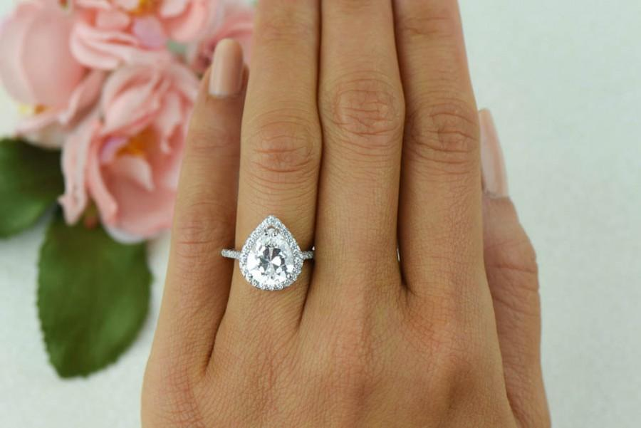 Hochzeit - 3.5 ctw, Classic Pear Halo Ring, Engagement Ring, Man Made Diamond Simulants, Half Eternity Ring, Pave Band, Promise Ring, Sterling Silver
