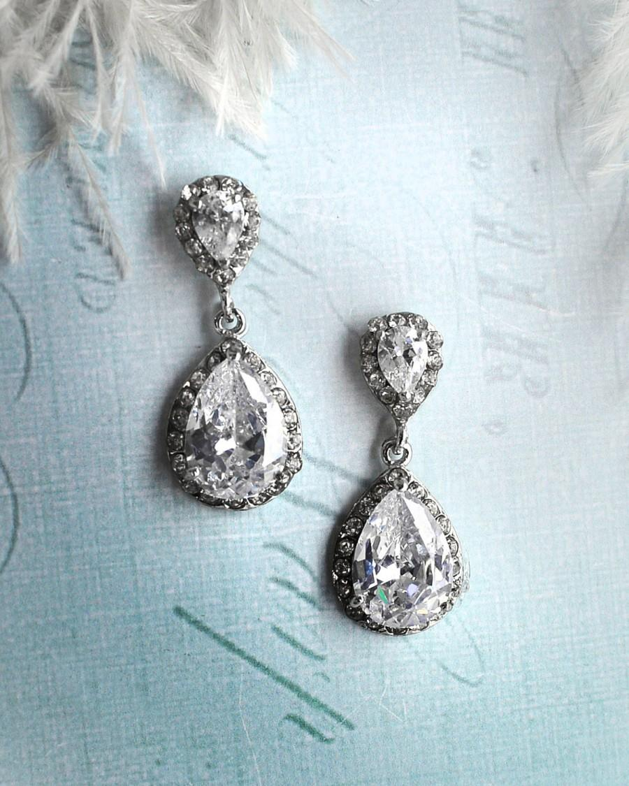 Vintage Wedding Earrings 1920s Bridal Antique Crystal Drop Pear Shaped Camille