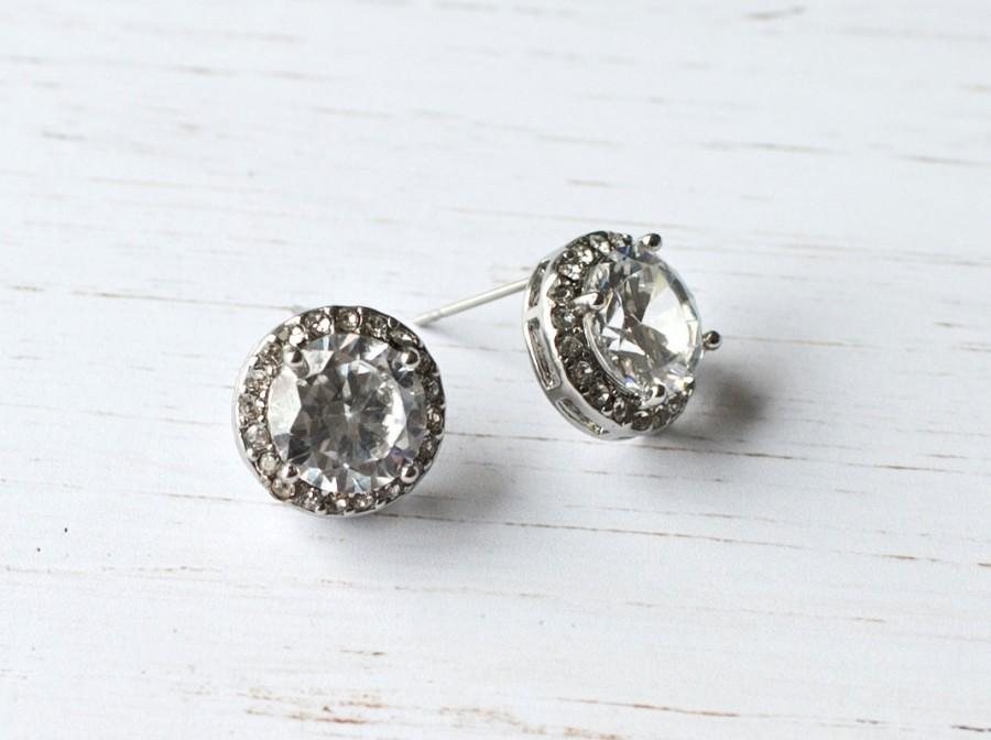Vintage Style On Earrings Bridal Stud Wedding Earring Studs Rhinestone 1920s Kiera