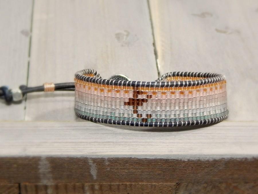 Mariage - Custom Initial bracelet Faded Rose Gold to Silver bead loom woven friendship bracecelet, monogram bracelet, ombre bracelet, bridesmaid