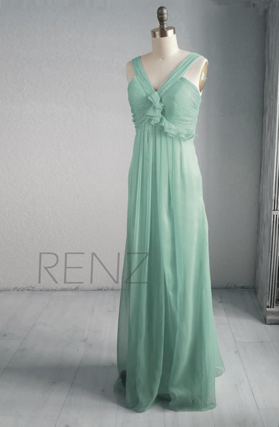 Mariage - 2015 Sleeveless Dusty Shale Bridesmaid dress, Mint Wedding dress, Long Chiffon Party dress, Formal dress, Prom dress floor length (B056)