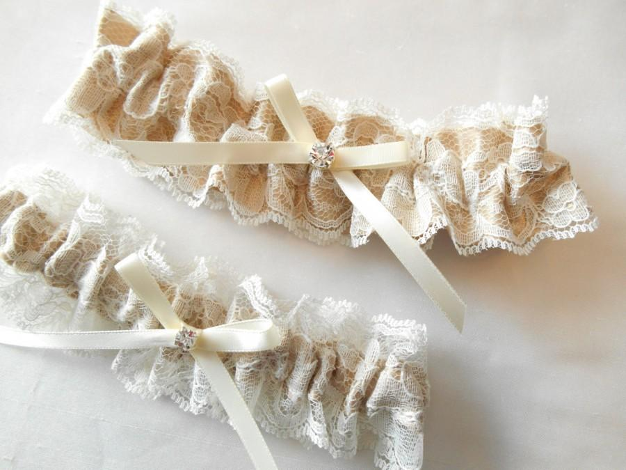 Hochzeit - Wedding Garter Set  Light Ivory Antique Ivory and White lace and Custom Satin Color Pearl Rhinestone Cluster Garter Set