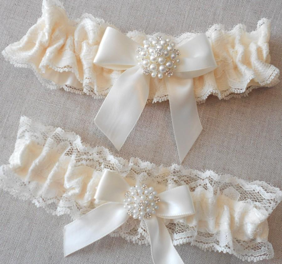 Wedding Garter Set CUSTOM COLOR Ivory Light White Black Lace And Satin Pearl Rhinestone Cluster