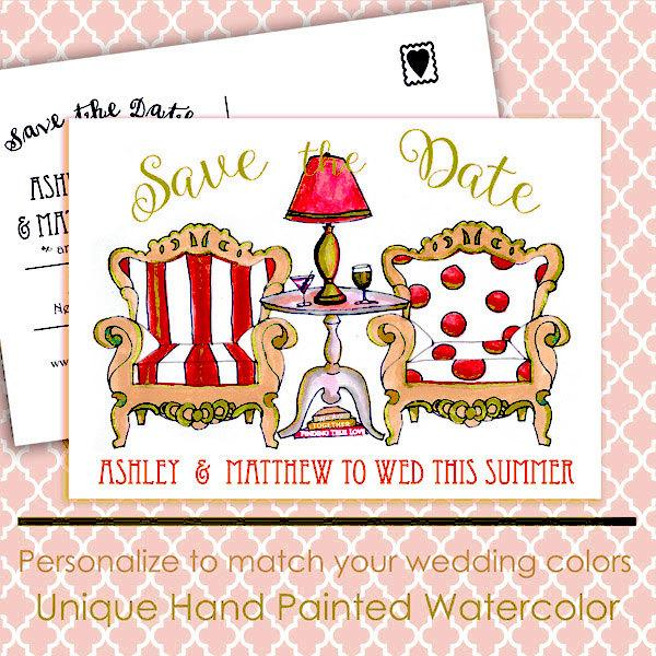 Mariage - His and Her Chair Save the Date Wedding Postcard, Red Tan, 9 Color Options, Wedding Invitations, Save the Date Postcard, hand colored