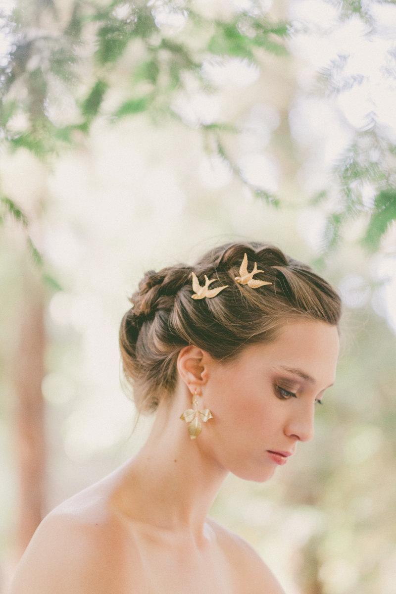 gold bridal hair pins bridal bobby pins bridal hair clips bridal hair accessories rustic woodland weddings woodland bride nature weddings