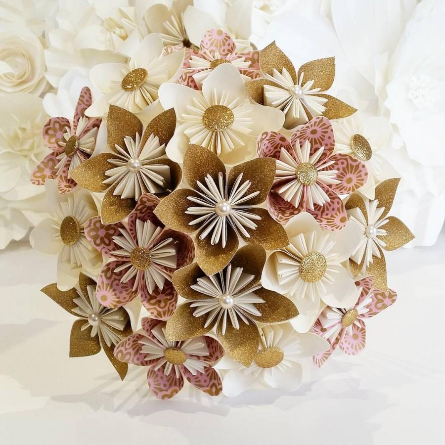 Paper Flowers Bouquet Origami Bridal Stationary Uk Dusky Pale Pastel