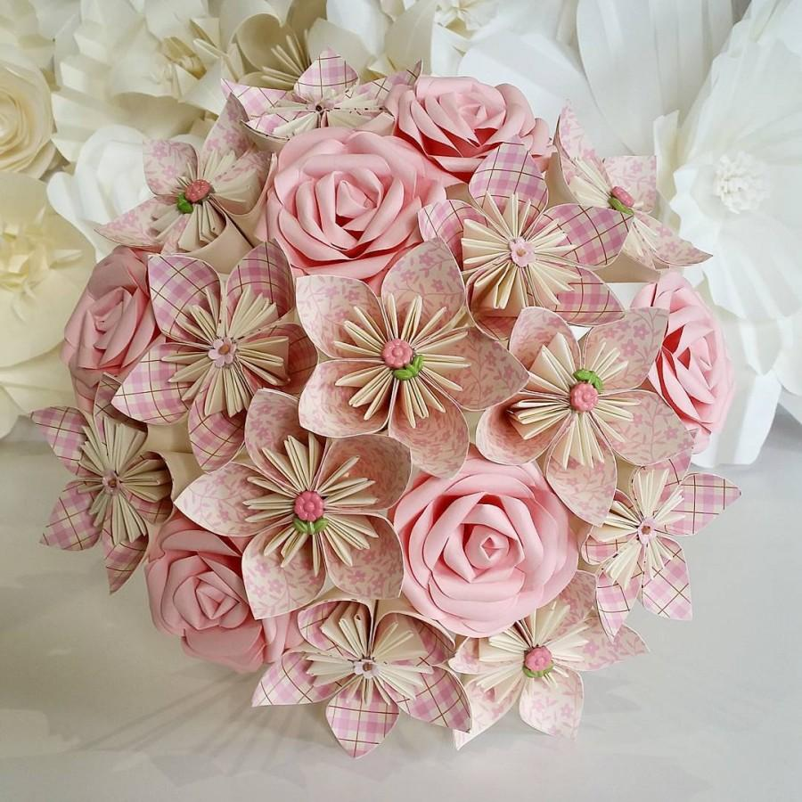 Paper Flowers Bouquet Origami Bridal Stationary UK Rustic Romantic Pink Rose Vintage Floral Theme Silk Foam Button Brooch Dress Anniversary