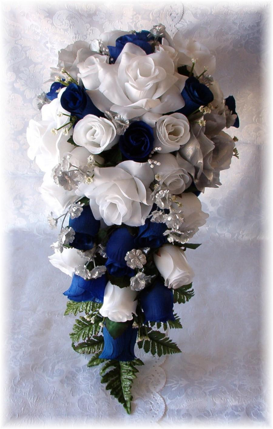 Свадьба - ROYAL BLUE Horizon Wedding Bouquet Cascade 2pc WHITE Silver Silk Flowers Boutonniere  Roses