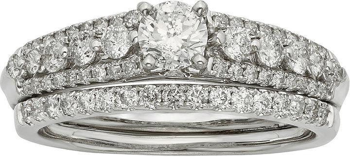 Свадьба - MODERN BRIDE 1 CT. T.W. Certified Diamond 14K White Gold Bridal Ring Set