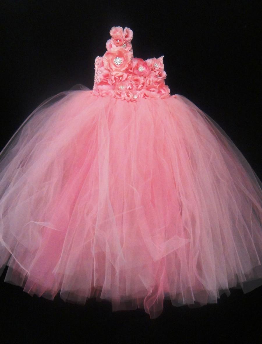 Mariage - Pink Flower Girl Dress.... Pink flowers Tutu Dress.... Tulle Dress