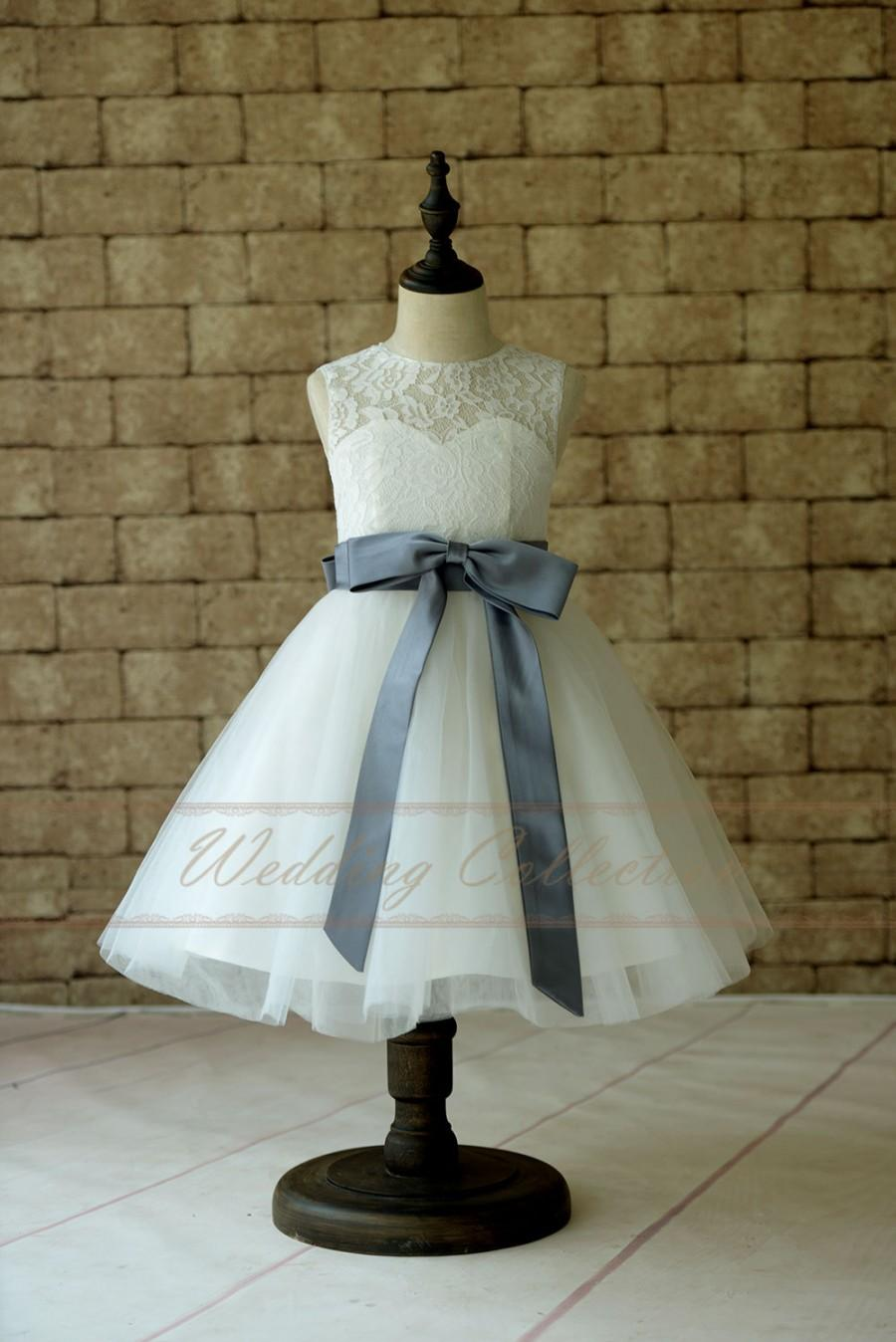 زفاف - Ivory Lace Tulle Flower Girl Dress With Gray Sash and Bow