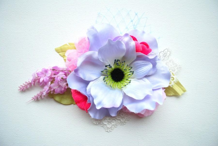 زفاف - Blue Lavender Pink Bridal Hair Comb, Weddings Accessories, Bride Brooch, Bridesmaids Headpiece, Pastel, Country Wedding, Bridal Sash, Prom