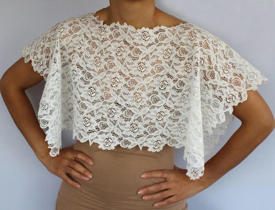 Bridal lace shrug bridal cape shabby chic cream cotton for Designer bolero