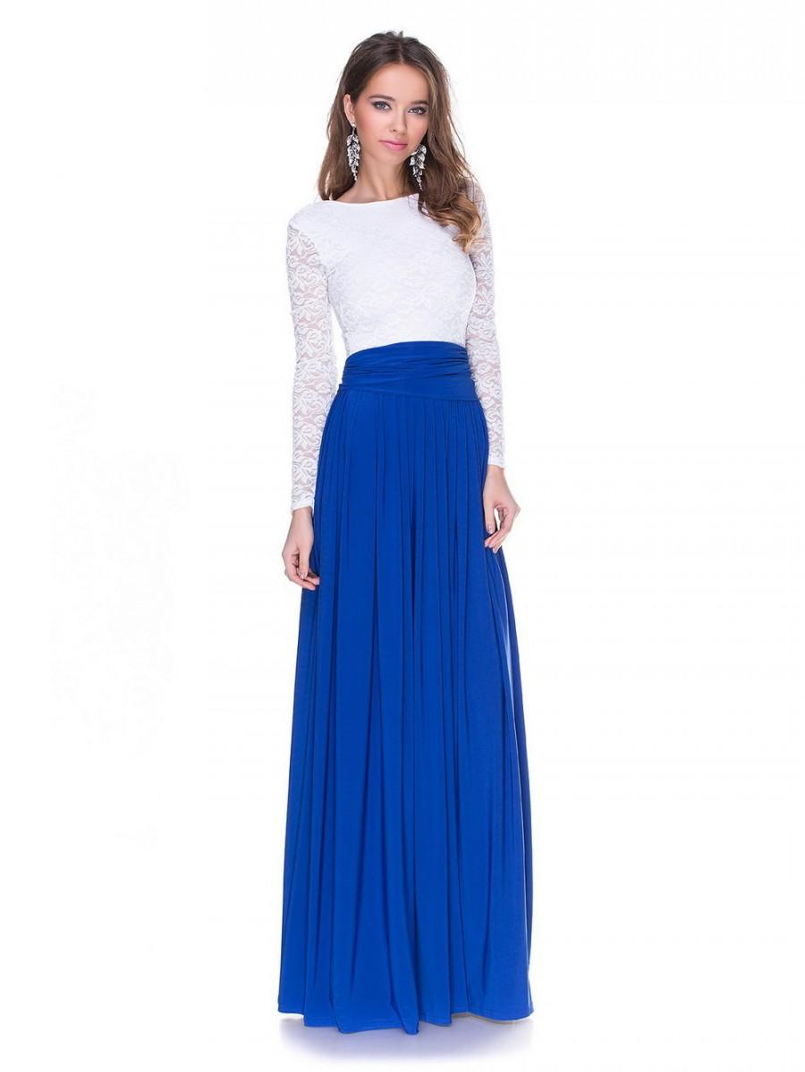 White and blue evening dress dress on sale for Long blue dress for wedding