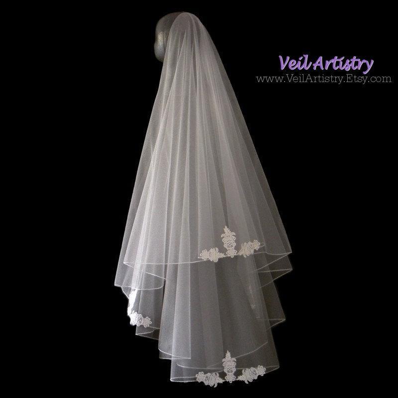 Mariage - Wedding Veil, Simplicity Veil, Drop Veil, 2 Tier Veil, Delicate Embroidered Edge Veil, Lace Applique Veil, Made-to-Order Veil, Bespoke Veil
