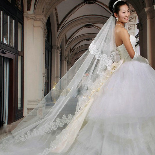 Свадьба - Ivory Cathedral length Lace Mantilla Bridal Veil