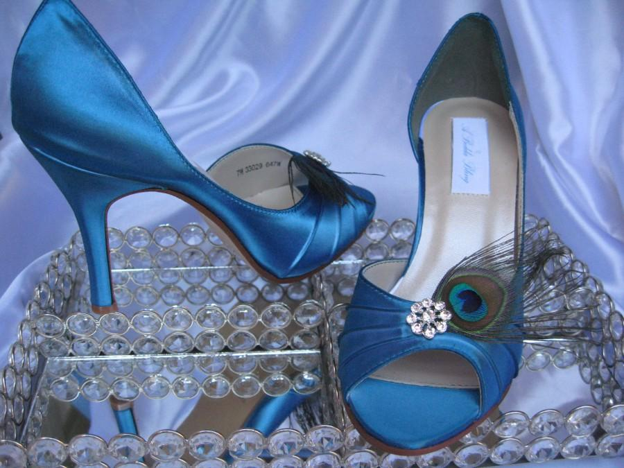 Свадьба - Peacock Wedding Shoes Blue Bridal Shoes with Peacock Feathers and Crystal - Over 100 Color Shoe Choices to Pick From