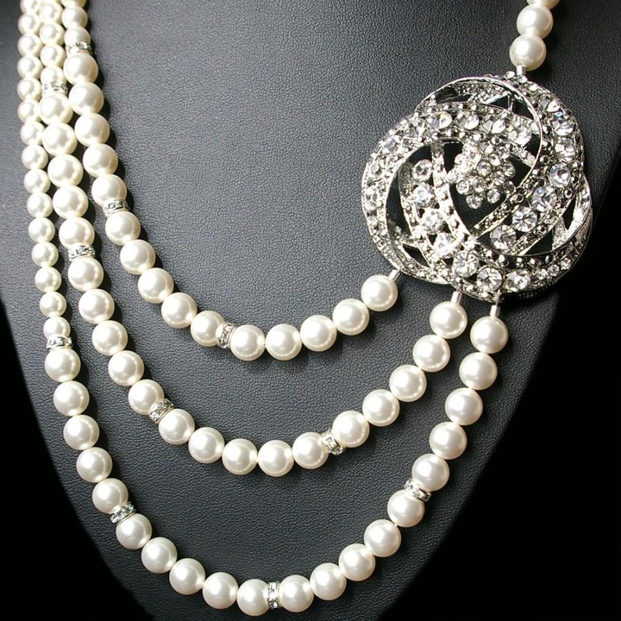 Mariage - Art Deco Bridal Necklace, Statement Wedding Necklace, Bridal Jewelry, Ivory Pearl Wedding Jewelry, Great Gatbsy Jewelry, LOIS