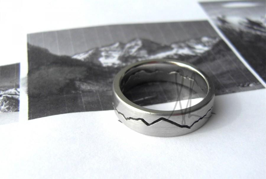 Mariage - 6mm Custom Mountain Range Ring, Mountaineers Wedding band, Handmade from Recycled Silver, Gold or Platinum by BentMLjewelry