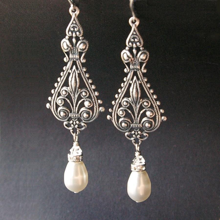 Mariage - SET of FIVE: Vintage Bridal Silver Filigree Earrings, Antiqued Silver Chandelier Earrings, Ivory White Pearl Chandelier Earrings, VIVIENNE