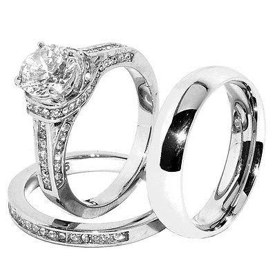 His Hers Set Stainless Steel Wedding Ring Set CZ Ring CZ