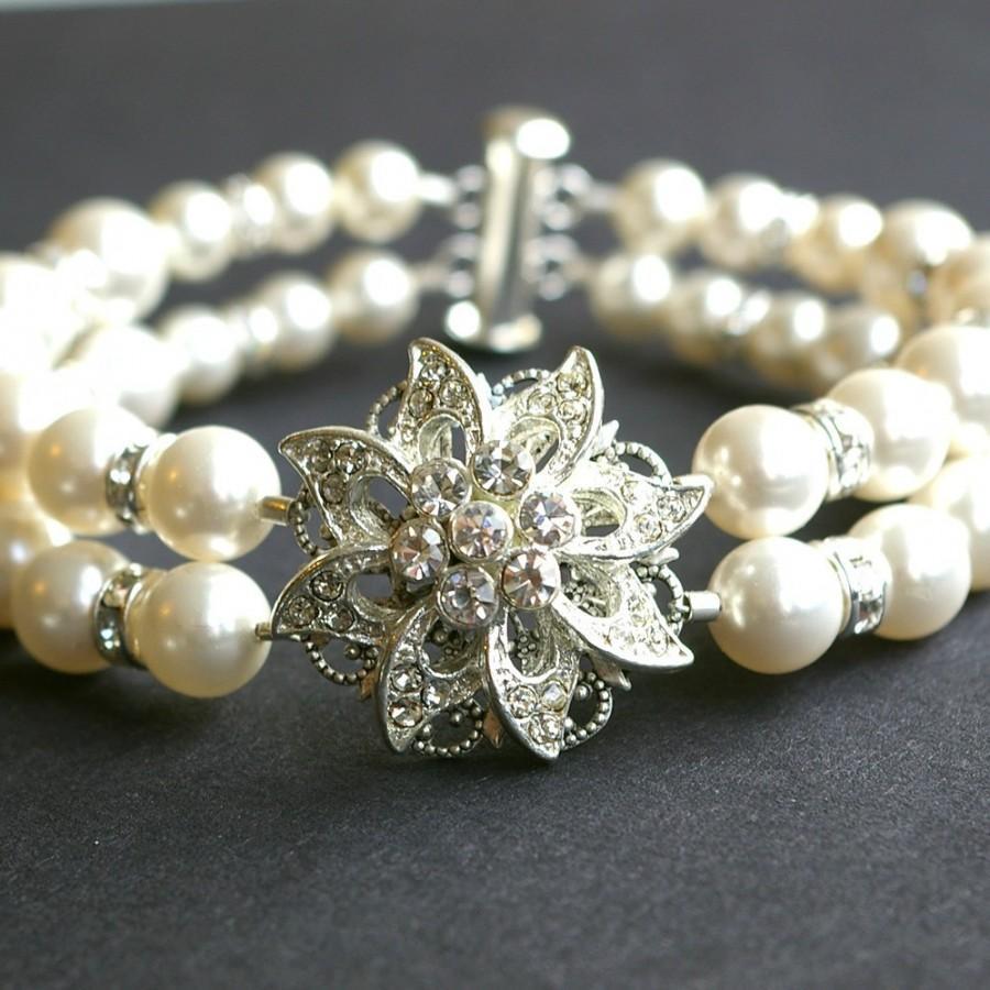Bridal Flower Bracelet : Victorian style rhinestone bridal bracelet cuff vintage