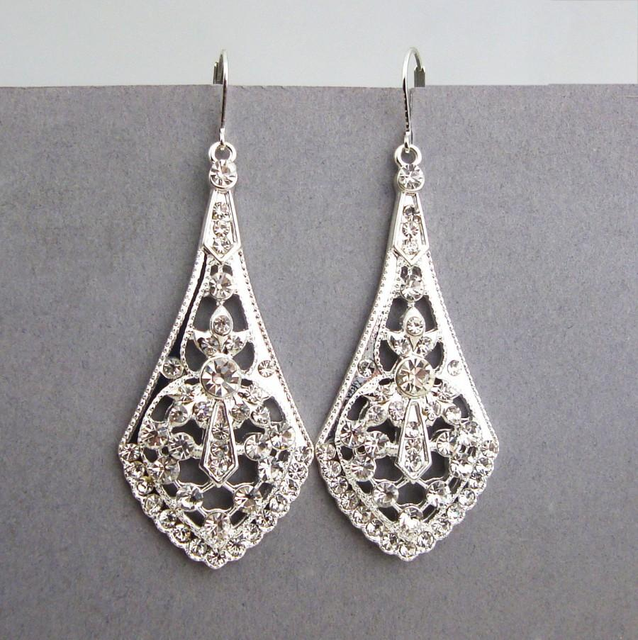 Art deco style silver filigree bridal earrings bridal chandelier art deco style silver filigree bridal earrings bridal chandelier earrings vintage style rhinestone wedding earrings bridal jewelry anya arubaitofo Choice Image