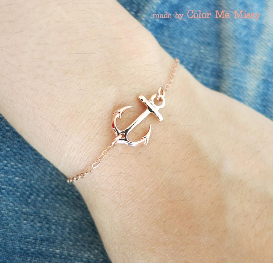 Lucky Rose Gold Anchor Bracelet - Simple Rose Gold Filled Bracelet ...