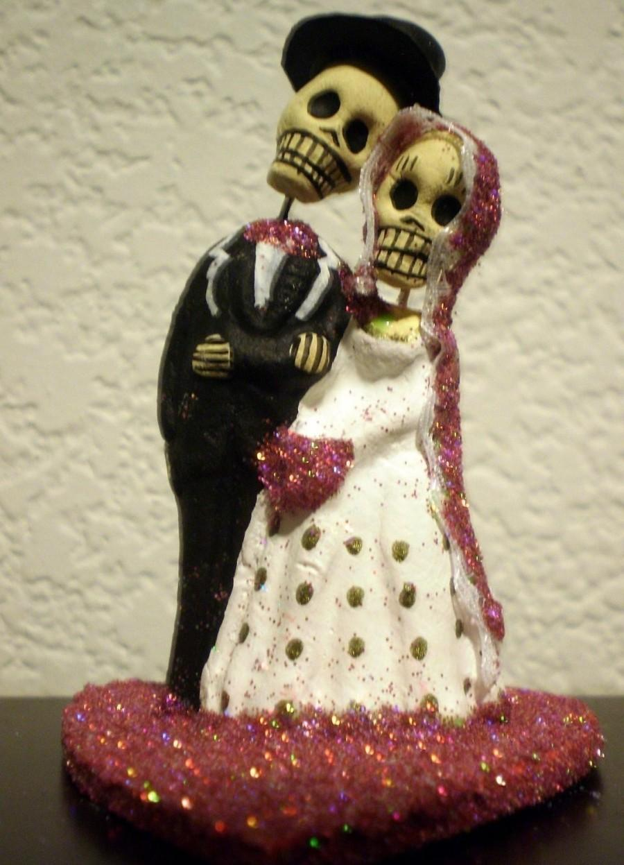 Свадьба - Hot Pink Till Death Do Us Part Dia De Los Muertos Cake Topper - Halloween, Wedding, Engagment Party, Day of the Dead