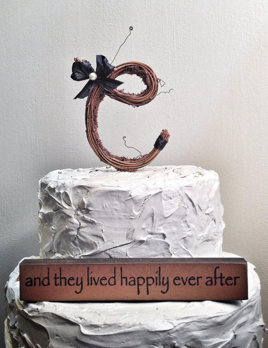 Letter C Rustic Twig Monogram Letter Wedding Cake Topper 2438689