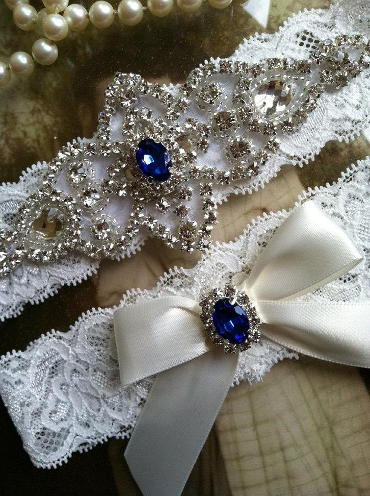 Wedding Garter Garters Bridal Garter Blue Pearl Garter Keepsake Something Blue Ivory Lace Garter
