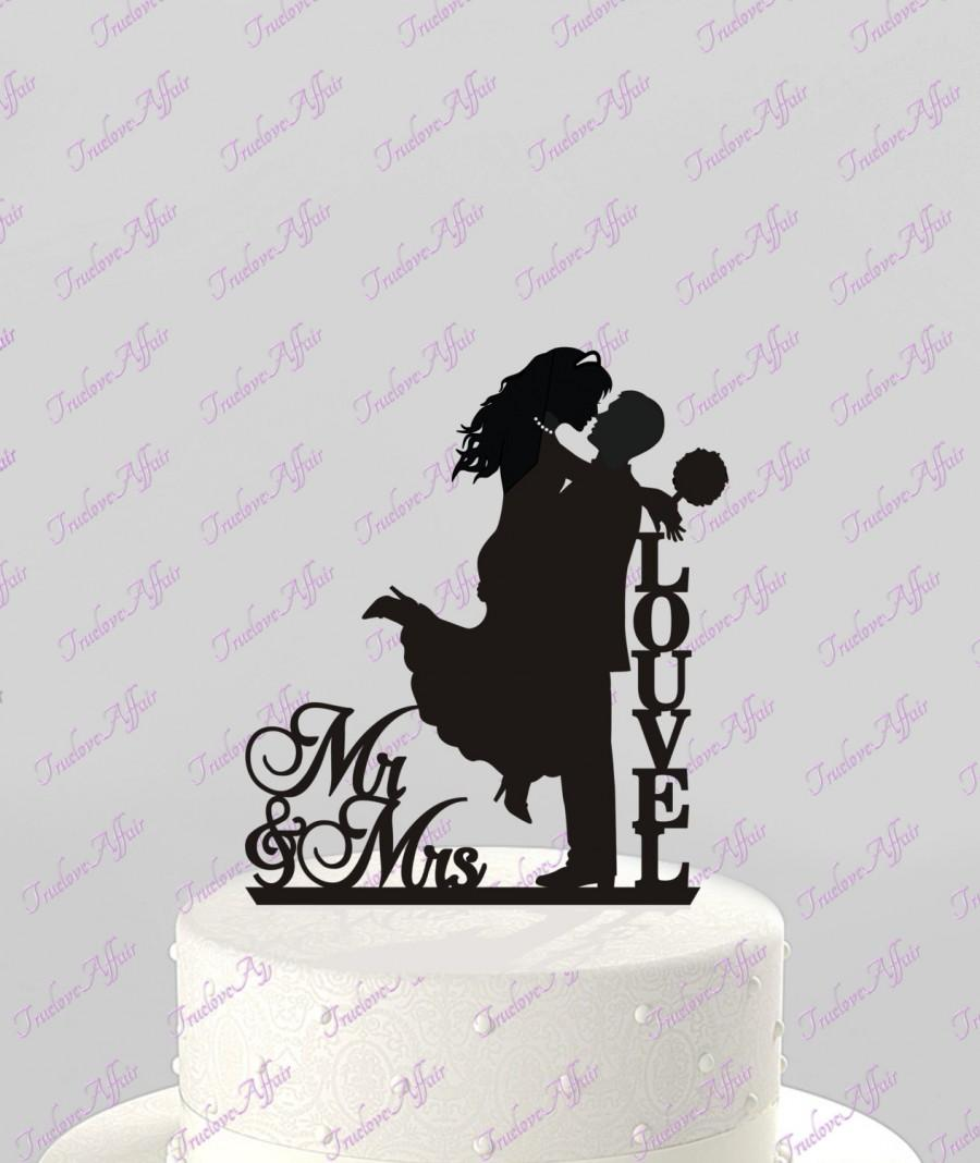 Свадьба - Wedding Cake Topper Silhouette Couple Mr & Mrs Personalized with Last Name, Acrylic Cake Topper [CT74n]