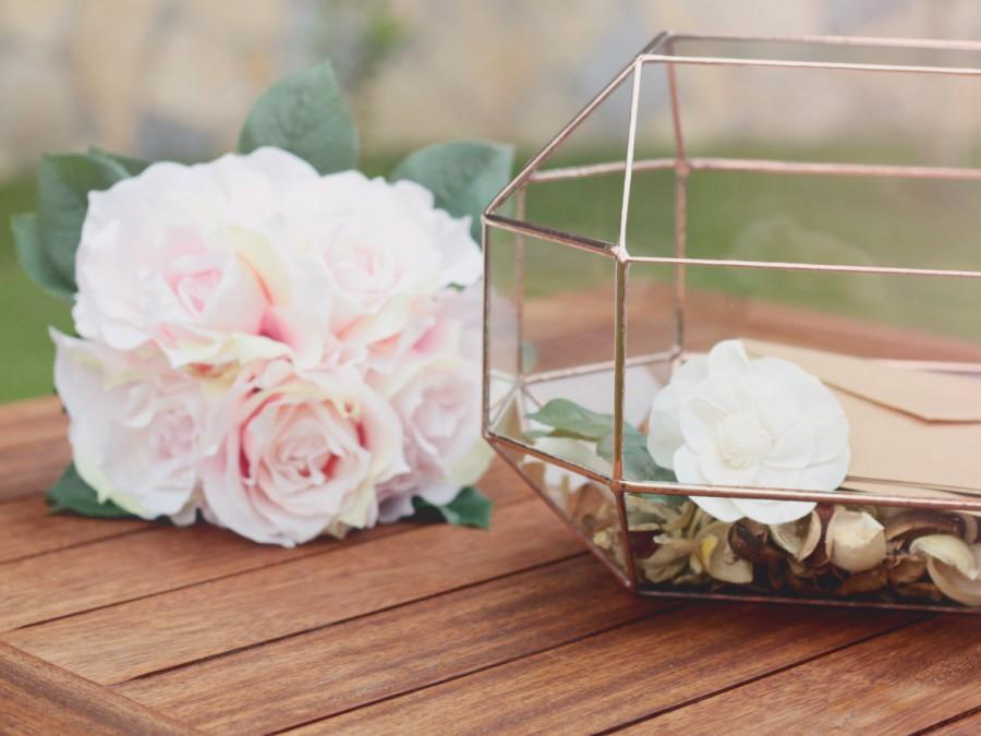 Mariage - NEW! Large Geometric Box / Modern Wedding Decor / Glass Jewelry Box / Large Terrarium / Conservatory Envelope Holder / Wedding Table Decor