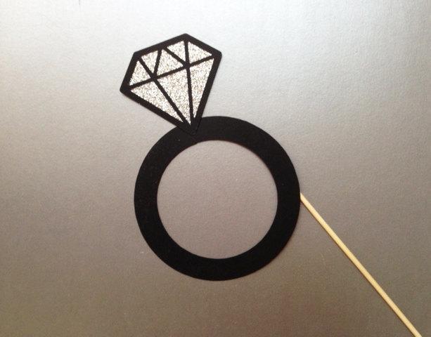 Свадьба - Diamond Ring Wedding Photo Booth Prop Bachelorette Photo Booth Props