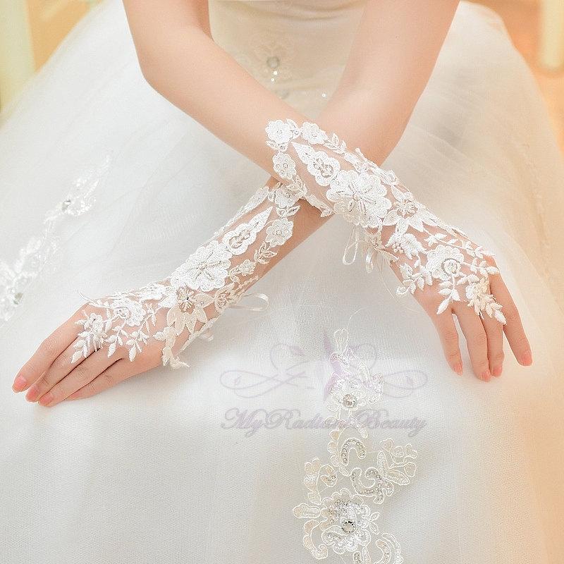 Bridal Gloves French Lace Fl Rhinestone Long Design Fingerless Wedding Accessory Bg0025