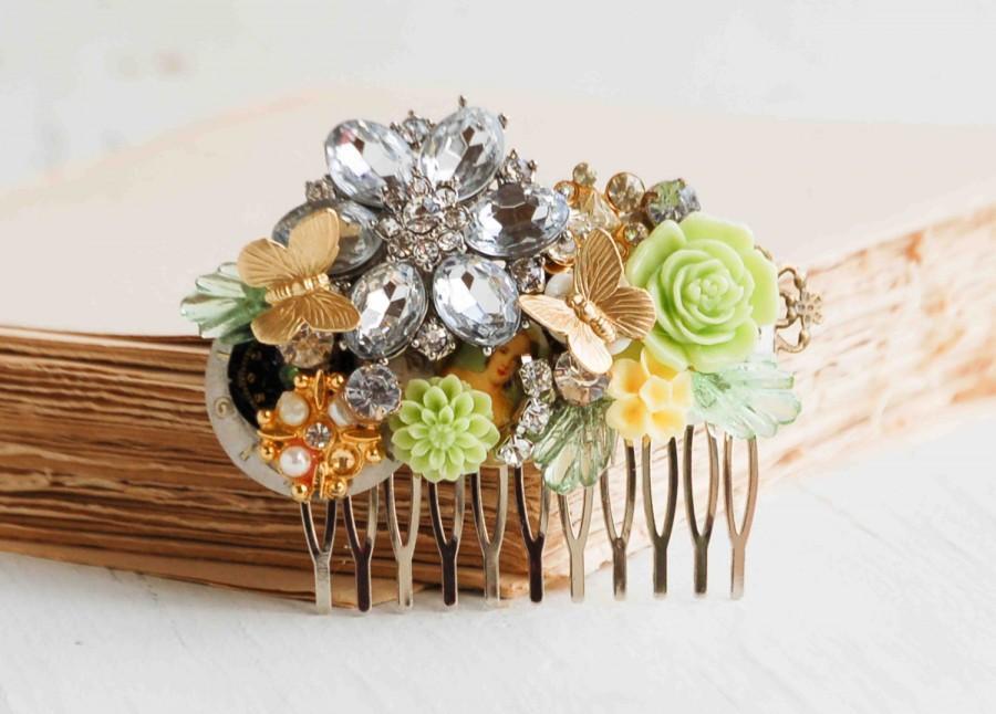 Свадьба - Bridal Hair Comb Sprinttime  FLOWERS Wedding Vintage Jewels Garden Wedding